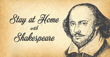 a poster of stay at home with Shakespeare arts and culture