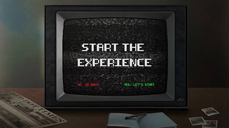 digital art project image of a tv with start the experience